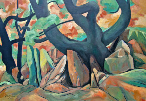 Tree and Rocks 5 (oil)