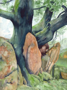 Tree and Rocks 6 (watercolour)